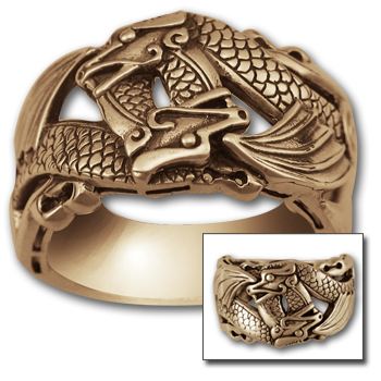 Double Dragon Ring in 14K Gold