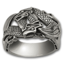 Double Dragon Ring in Sterling Silver