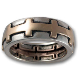 Eternal Cross Ring in Silver & Gold