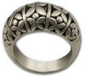 Floral Pattern Ring in Sterling Silver