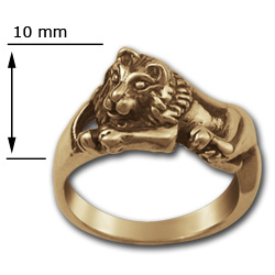 Lion Ring in 14k Gold