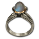 "Moonstone ""egg"" in Sterling & Gold"