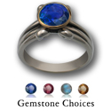 Gemstone Ring in White & Yellow 14k Gold