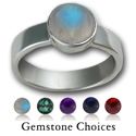 Simple Gemstone Ring in Sterling Silver
