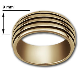 Railed Band Ring in 14k Gold