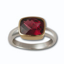Cushion Cut Gemstone Ring in 14k White & Yellow Gold