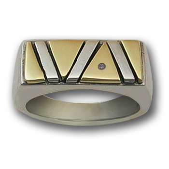 Pride Ring in White & Yellow 14k Gold w/ Diamond