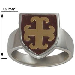 Maltese Cross Ring in Silver & Gold w/ Enamel