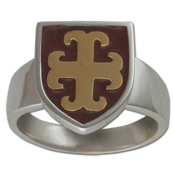 Maltese Cross Ring in White & Yellow Gold w/ Enamel