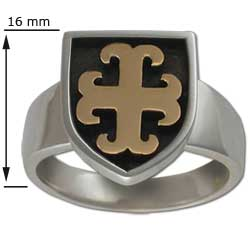Maltese Cross Ring in White & Yellow Gold