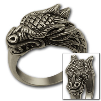 Chinese Dragon Ring in Sterling Silver