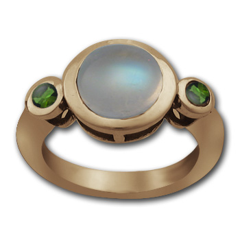 Marvelous Moonstone Ring with Emeralds in 14k