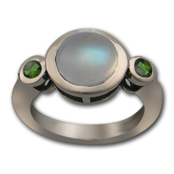 Marvelous Moonstone Ring with Emeralds