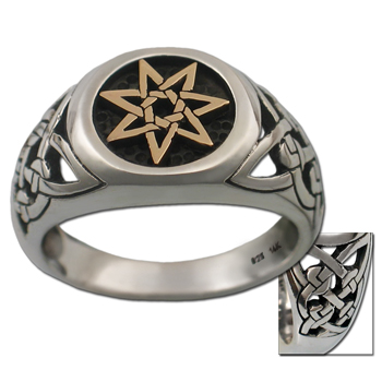 Celtic Septagram Ring in .925 Sterling & 14k