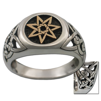 Celtic Septagram Ring in White & Yellow Gold
