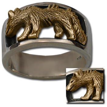 Wolf Ring in Silver & Gold