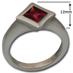 Square-Cut Gemstone Ring in Sterling Silver