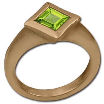Square-Cut Gemstone Ring in 14k Gold