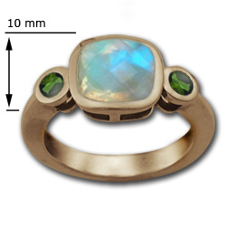 Cushion Cut Moonstone Ring with Emeralds in 14k