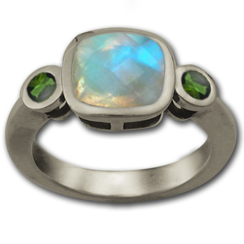 Cushion Cut Moonstone Ring with Emeralds