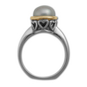 Pearl Ring in White & Yellow Gold