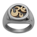 Om Ring in White & Yellow Gold