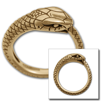 Ouroboros Ring in 14K Gold