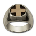 Heavy Cross Ring in Silver & Gold