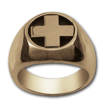 Heavy Cross Ring in 14k Gold