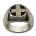 Heavy Cross Ring in Sterling Silver