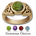 Celtic Gemstone Ring in 14k Gold