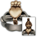 Claddagh Poison Ring in 14K White & Yellow Gold