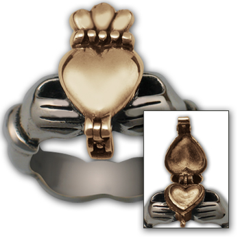 Claddagh Poison Ring in Silver & Gold