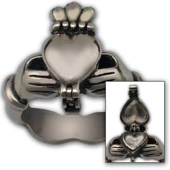 Claddagh Poison Ring in Sterling Silver
