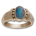 Opal Ring in 14k Gold w/ Diamonds