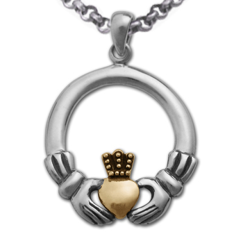 Claddagh Pendant in White & Yellow 14k gold