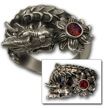 Dragon Ring w/ Lotus in Sterling Silver