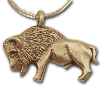 Buffalo Pendant in 14k Gold