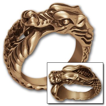 Ouroboros Dragon Ring in 14K Gold