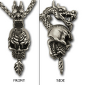 Skull & Dragon Pendant in .925 Sterling Silver