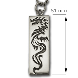 Dragon Tag Pendant in .925 Sterling Silver