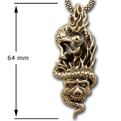 Serpent & Skull Pendant in 14K Gold