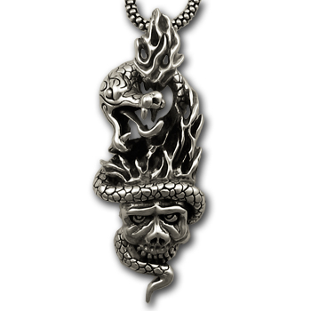 Serpent & Skull Pendant in Sterling Silver