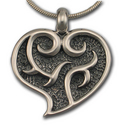 Flaming Heart Pendant in Sterling Silver