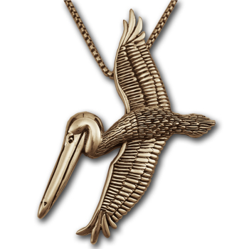 Pelican Pendant in  14K Gold