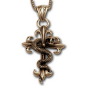 Snake & Cross Pendant in 14K Gold