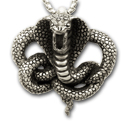 King Cobra Pendant in Sterling Silver