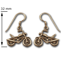 Motorcycle Earrings in 14K Gold