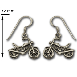 Motorcycle Earrings in Sterling Silver