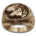 Double Horse Head Ring in 14K Gold